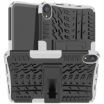 Tire Texture TPU + PC Shockproof Case with Holder For iPad mini 6(White)
