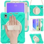 Silicone + PC Protective Case with Holder & Shoulder Strap For iPad mini 6(Mint Green)