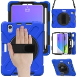 Silicone + PC Protective Case with Holder & Shoulder Strap For iPad mini 6(Blue)