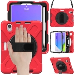 Silicone + PC Protective Case with Holder & Shoulder Strap For iPad mini 6(Red)