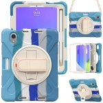 Silicone + PC Protective Case with Holder & Shoulder Strap For iPad mini 6(Colorful Blue)