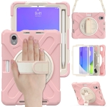 Silicone + PC Protective Case with Holder & Shoulder Strap For iPad mini 6(Cherry Blossom Pink)