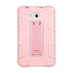 For Samsung Galaxy Tab E 7.0 T110 C5 Four Corners Shockproof Silicone + PC Protective Case with Holder(Rose Gold + Grey)
