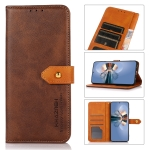 For Infinix Hot 10s KHAZNEH Dual-color Cowhide Texture Horizontal Flip Leather Case with Holder & Card Slots & Wallet & Photo Frame(Brown)