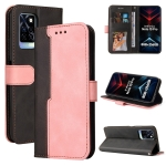 For Infinix Note 10 Pro / 10 Pro NFC Business Stitching-Color Horizontal Flip PU Leather Case with Holder & Card Slots & Photo Frame(Pink)