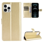 Crazy Horse Texture Horizontal Flip Leather Case with Holder & Card Slots & Lanyard For iPhone 13 Pro Max(Gold)
