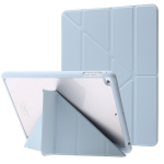 Deformation Transparent Acrylic Horizontal Flip PU Leather Case with Multi-folding Holder & Sleep / Wake-up Function & Pen Slot For iPad 9.7 2017 / 2018 / Pro 9.7(Baby Blue)
