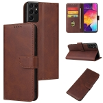 For Samsung Galaxy S20 Ultra Calf Texture Buckle Horizontal Flip Leather Case with Holder & Card Slots & Wallet(Brown)