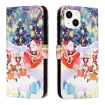 Silk Texture Christmas Painted Pattern Horizontal Flip Leather Case with Holder & Card Slots & Wallet & Photo Frame For iPhone 13(Gifts Santa Claus)