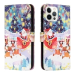 Silk Texture Christmas Painted Pattern Horizontal Flip Leather Case with Holder & Card Slots & Wallet & Photo Frame For iPhone 13 Pro(Gifts Santa Claus)