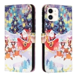 Silk Texture Christmas Painted Pattern Horizontal Flip Leather Case with Holder & Card Slots & Wallet & Photo Frame For iPhone 11(Gifts Santa Claus)