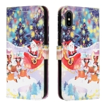 Silk Texture Christmas Painted Pattern Horizontal Flip Leather Case with Holder & Card Slots & Wallet & Photo Frame For iPhone X / XS(Gifts Santa Claus)