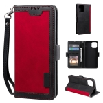 Retro Splicing Horizontal Flip Leather Case with Card Slots & Holder & Wallet For iPhone 13 Pro Max(Red)