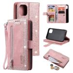 Nine Card Zipper Bag Horizontal Flip Leather Case With Holder & Card Slots & Photo Frame & Wallet For iPhone 13(Pink)
