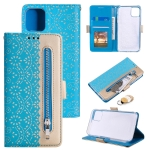 Lace Pattern Double Button Zipper Horizontal Flip Leather Case with Holder & Card Slots & Wallet For iPhone 13(Blue)