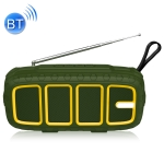 NewRixing NR-5018FM Outdoor Portable Bluetooth Speaker with Antenna, Support Hands-free Call / TF Card / FM / U Disk(Green+Yellow)