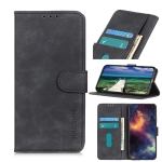 For Motorola Edge (2021) KHAZNEH Retro Texture PU + TPU Horizontal Flip Leather Case with Holder & Card Slots & Wallet(Black)