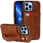 Crazy Horse Texture Shockproof TPU + PU Leather Case with Card Slot & Wrist Strap Holder For iPhone 13 Pro Max(Brown)