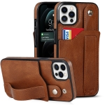 Crazy Horse Texture Shockproof TPU + PU Leather Case with Card Slot & Wrist Strap Holder For iPhone 12 Pro Max(Brown)
