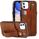 Crazy Horse Texture Shockproof TPU + PU Leather Case with Card Slot & Wrist Strap Holder For iPhone 11(Brown)