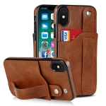 Crazy Horse Texture Shockproof TPU + PU Leather Case with Card Slot & Wrist Strap Holder For iPhone X / XS(Brown)