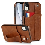 Crazy Horse Texture Shockproof TPU + PU Leather Case with Card Slot & Wrist Strap Holder For iPhone XR(Brown)