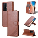 For vivo X70 AZNS Sheepskin Texture Horizontal Flip Leather Case with Holder & Card Slots & Wallet(Brown)