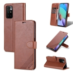 For Xiaomi Redmi 10 AZNS Sheepskin Texture Horizontal Flip Leather Case with Holder & Card Slots & Wallet(Brown)