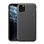 Electroplating Leather Texture PC + TPU Shockproof Case For iPhone 11 Pro Max(Black)