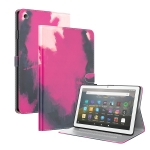 For Amazon Fire HD 8 2018/2017/2016/2015 Watercolor Pattern Skin Feel Magnetic Horizontal Flip PU Leather Case with Holder & Card Slots & Photo Frame(Berry)