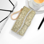 For Sony Xperia 10 III Glitter Powder Horizontal Flip Leather Case with Card Slots & Holder & Lanyard(Gold)