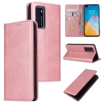 For Huawei P40 Calf Texture Magnetic Horizontal Flip Leather Case with Holder & Card Slots & Wallet(Rose Gold)