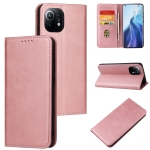 For Xiaomi Mi 11 Calf Texture Magnetic Horizontal Flip Leather Case with Holder & Card Slots & Wallet(Rose Gold)