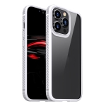 MG Series Carbon Fiber TPU + Clear PC Four-corner Airbag Shockproof Case For iPhone 13 Pro Max(White)