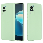 For vivo X60 Pro 5G Foreign Version Solid Color Liquid Silicone Shockproof Full Coverage Protective Case(Green)