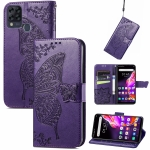 For Infinix Hot 10T Butterfly Love Flower Embossed Horizontal Flip Leather Case with Holder & Card Slots & Wallet & Lanyard(Dark Purple)