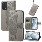 For OPPO Realme GT Master Butterfly Love Flower Embossed Horizontal Flip Leather Case with Holder & Card Slots & Wallet & Lanyard(Gray)