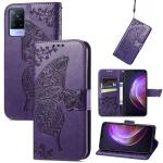 For vivo V21 Butterfly Love Flower Embossed Horizontal Flip Leather Case with Holder & Card Slots & Wallet & Lanyard(Dark Purple)