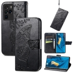 For ZTE Nubia Z30 Pro Butterfly Love Flower Embossed Horizontal Flip Leather Case with Holder & Card Slots & Wallet & Lanyard(Black)