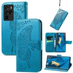 For ZTE Nubia Z30 Pro Butterfly Love Flower Embossed Horizontal Flip Leather Case with Holder & Card Slots & Wallet & Lanyard(Blue)