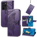 For ZTE Nubia Z30 Pro Butterfly Love Flower Embossed Horizontal Flip Leather Case with Holder & Card Slots & Wallet & Lanyard(Dark Purple)