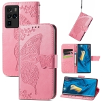 For ZTE Nubia Z30 Pro Butterfly Love Flower Embossed Horizontal Flip Leather Case with Holder & Card Slots & Wallet & Lanyard(Pink)