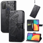 For Alcatel 1S 2021 Butterfly Love Flower Embossed Horizontal Flip Leather Case with Holder & Card Slots & Wallet & Lanyard(Black)