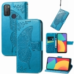 For Alcatel 1S 2021 Butterfly Love Flower Embossed Horizontal Flip Leather Case with Holder & Card Slots & Wallet & Lanyard(Blue)
