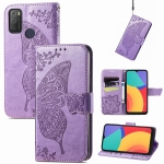 For Alcatel 1S 2021 Butterfly Love Flower Embossed Horizontal Flip Leather Case with Holder & Card Slots & Wallet & Lanyard(Light Purple)