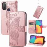 For Alcatel 1S 2021 Butterfly Love Flower Embossed Horizontal Flip Leather Case with Holder & Card Slots & Wallet & Lanyard(Rose Gold)