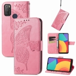 For Alcatel 1S 2021 Butterfly Love Flower Embossed Horizontal Flip Leather Case with Holder & Card Slots & Wallet & Lanyard(Pink)