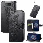 For Asus Zenfone 8 Flip Butterfly Love Flower Embossed Horizontal Flip Leather Case with Holder & Card Slots & Wallet & Lanyard(Black)
