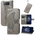 For Asus Zenfone 8 Flip Butterfly Love Flower Embossed Horizontal Flip Leather Case with Holder & Card Slots & Wallet & Lanyard(Gray)