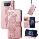 For Asus Zenfone 8 Flip Butterfly Love Flower Embossed Horizontal Flip Leather Case with Holder & Card Slots & Wallet & Lanyard(Rose Gold)